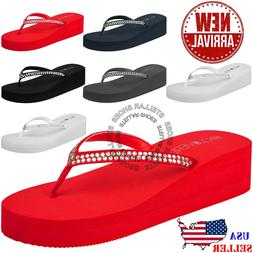 NEW Women's Fashion Platform Sandals Wedge Flip Flop Thong