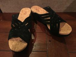 NEW Womens Size 8 UGG Lilah Black Cork Suede Wedge Sandals H