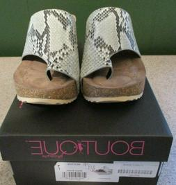 NIB Boutique by Corkys Wedge Sandals Color Black Snake Size