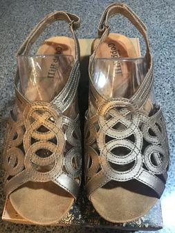 NIB Cobb Hill Helen Slingback Sandal Pewter Low Wedge 7 1/2