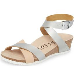 NIB Papillio by Birkenstock Lola Wedge Leather Sandals Silve