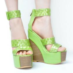 NICE Women Sandals Platform Wedges Sandals Brown Green Shoes