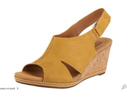 Clarks Nubuck Wedge Sandals with Backstrap Helio Float Wide