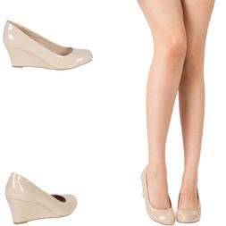 NUDE PATENT LEATHER ROUND CLOSED TOE MED LOW WEDGE HEEL WOME