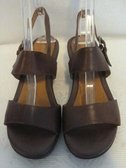 NWOB Naturalizer Brown Leather Wedge Slingback Sandals Size