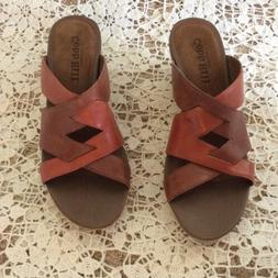 NWOB! Cobb Hill WEAVED LEATHER Slip On WEDGE SANDALS~TWO TON