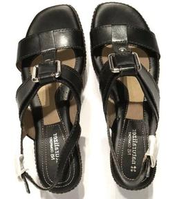 NWOB naturalizer Wedge Strappy Sandals Black Brown Leather S