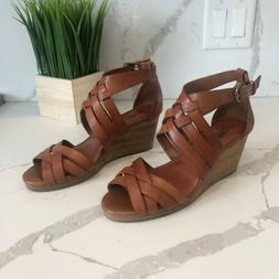 NWOT Lucky Brand Brown Leather Wedge Open Toe Sandals Ankle