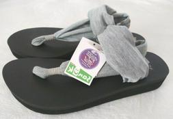 NWT! Sanuk Yoga Sling Wedge Heather Gray Shoes Sandals Flip
