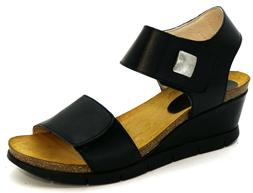 OGS Wide Shoes Rimini Black Leather Sandals 3E extra wide