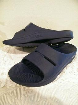 OOFOS OOAHH TECHNOLOGY NAVY SLIDE SANDALS  MEN 5 /WOMENS 7
