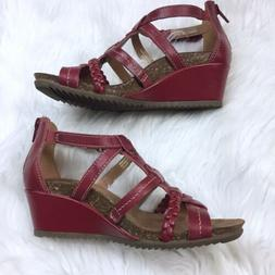 Earth Origins Kendall Leather Wedge Gladiator Sandals 6 M Re