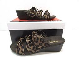Vionic Orthaheel Park Rizzo Wedge Sandal Tan Leopard Size 8