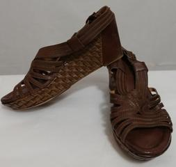 Earth Paradise Wedge Leather Sandals In Dark Brown Size 10 M