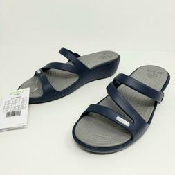 Crocs Patricia Wedge Comfort Sandals Navy Smoke Slides Shoes