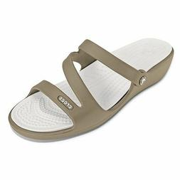Crocs Patricia Wedge Sandal Women Khaki Pearl White 10 MSRP