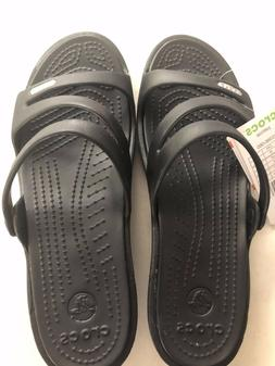 Crocs Patricia Wedge Sandals Black Women's size 8 new with t