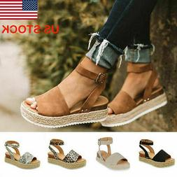 Women Fashion  Platform Sandals Casual Ankle Strap Wedges Sh