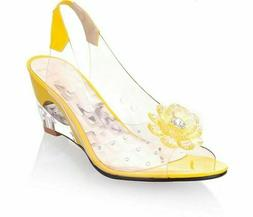 Peep Toe Shoes Sandals For Women Floral Wedges Summer Footwe