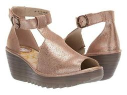 perforated leather ankle strap wedge sandal yehi