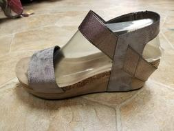 pewter hester wedge sandals 7 7 5