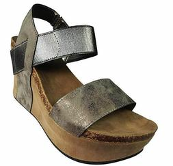 PIERRE DUMAS PEWTER HESTER WEDGE SANDALS Size 9 M - New no B