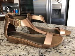 Kenneth Cole REACTION Great Gal T-Strap Wedge Sandals, medal