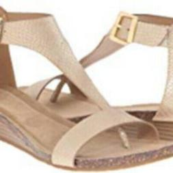 Kenneth Cole REACTION Great Gal T-Strap Wedge Sandals Gold 9