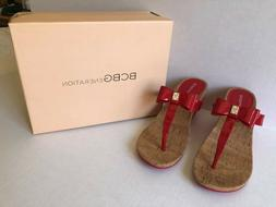BCBGENERATION RED PATENT WEDGE HEEL TOP BOW SANDALS MICHELLE