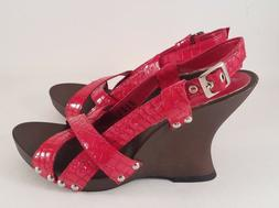 Andrea Red Wedge-Heeled Sandals with Red Faux Alligator Stra