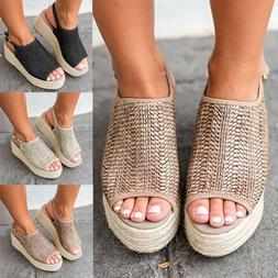 Women Wedge Platform Espadrilles Sandals Peep Toe Slingback