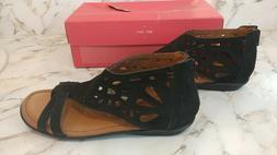 Rockport by Cobb Hill Ladies Womens Black Low Wedge Sandals