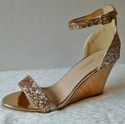 FOREVER ROSE GOLD GLITTER WEDGE SANDALS SIZE 8 NIB