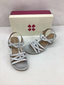 Naturalizer Salute Silver Wedge Slingback Sandals Size 7.5W