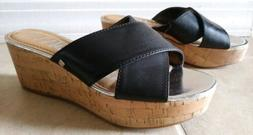"SAM & LIBBY Sandals Platform Black & Gold 2.5"" Cork Wedge He"