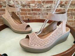 Clarks Sand Nubuck Leather Reedly Salene Ankle Strap Wedge S