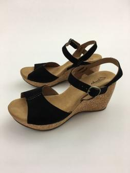 073db0b9694 Sandals Heels Black CLARKS Elements Suede Ankle Strap Cork W