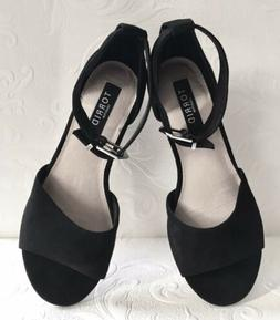 Torrid Sandals Size 10W Black Suede Ankle Strap Wedge