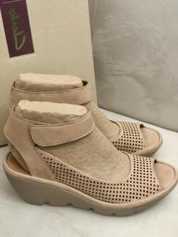 6d667e3dbc0f Clarks Sandals Womens Reedly Salene Sand Nubuck Leather Wedg