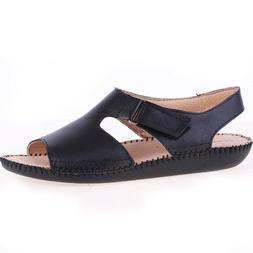 naturalizer Scout Wedge Heel Sandals, Black Leather, 9 W US