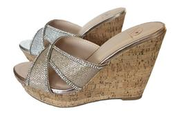Silver Gold criss cross rhinestone Cork platform wedge slide
