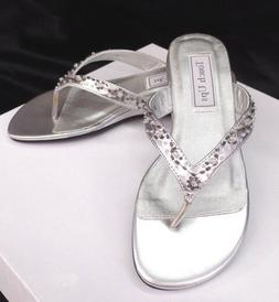 SIlver Jinni Beaded Sandals by Touch Ups Low Heel Wedge Big