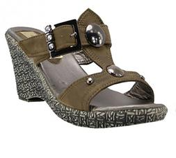 Slip On Wedge Sandals Gunmetal Silver Buttons Crystal Rhines