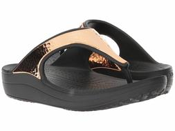 Crocs Sloane Hammered Metallic Flip Size 5 6 7 8 9 Black/Ros