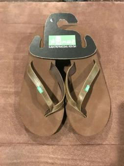 Sanuk Solid Brown Wedge Flip Flop Sandal Women's Size 7