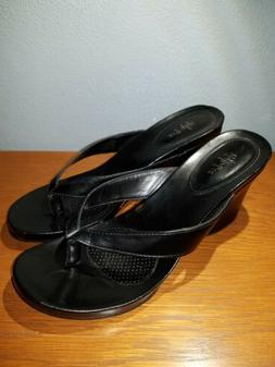 Style & Co Womens Wedge Sandals Black Size 10 M