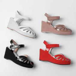 STYLISH Women Sandals Patent Leather Sandals Wedges Shoes Wo