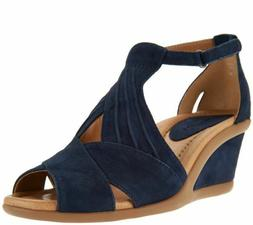 Earth Suede Peep Toe Wedge Sandal Curvet, Back, Navy, Biscui
