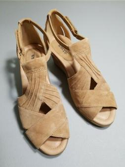 Earth Suede Peep-Toe Wedge Sandals Curvet Biscuit 8 # A28811