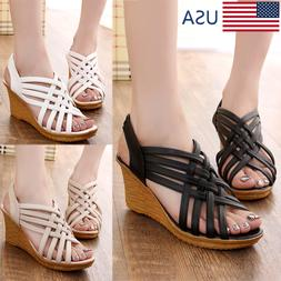 Summer Women's Wedge Sandals Open Toe Platform Casual Sandal